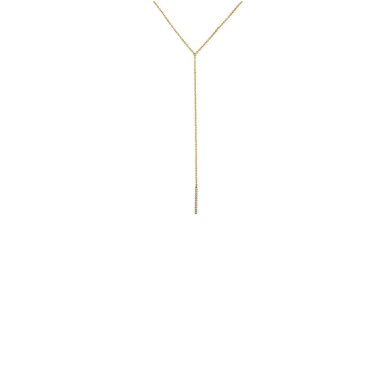 Short Diamond Bar Lariat