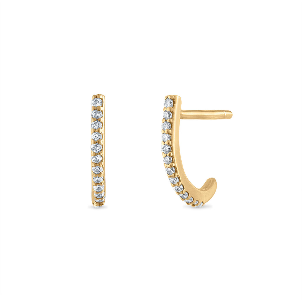 Mini Diamond J Hook Earring