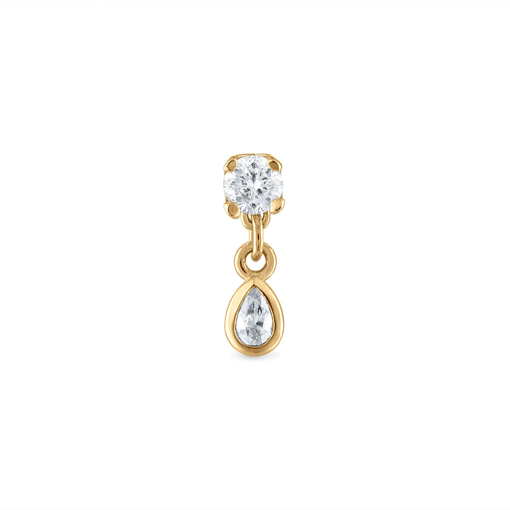 Dangle Pear Diamond Stud