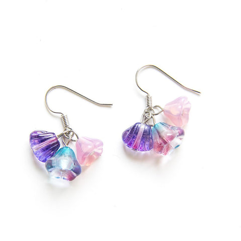 Candylicious Flower Silver Earring Purple Pink