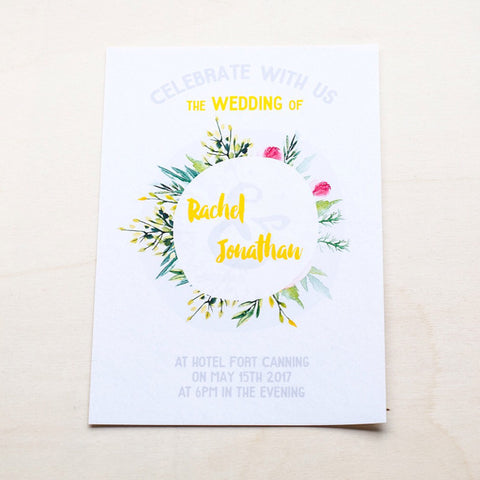Modern Calligraphy Wedding Card with Flowers #001