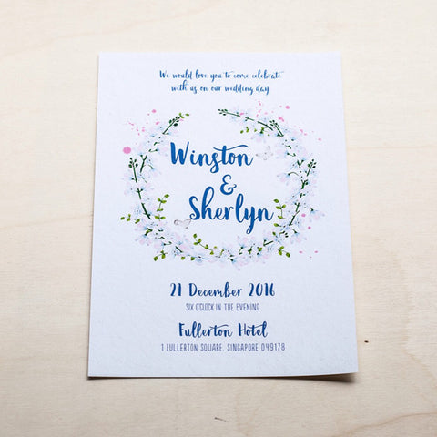 Modern Calligraphy Wedding Card with Flowers #004