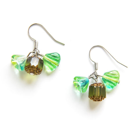 Candylicious Flower Silver Earring Green