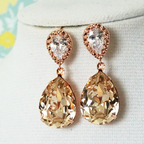 Sandra Light Silk Rose Gold Earrings