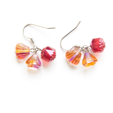 Candylicious Flower Silver Earring Red Orange
