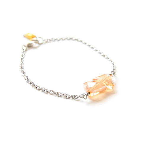 Double Heart Crystal Silver Bracelet Champagne