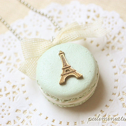 Green Macaron Eiffel Tower Necklace