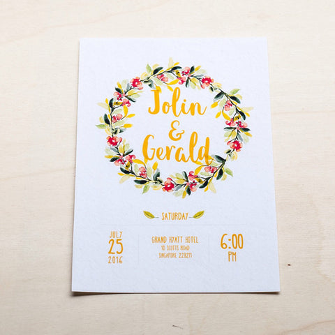 Modern Calligraphy Wedding Card with Flowers #003