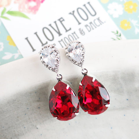 Sandra Siam Red Silver Earrings