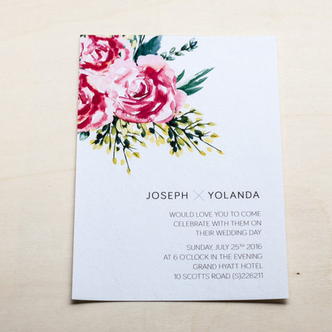 Modern Wedding Card with Flowers #005