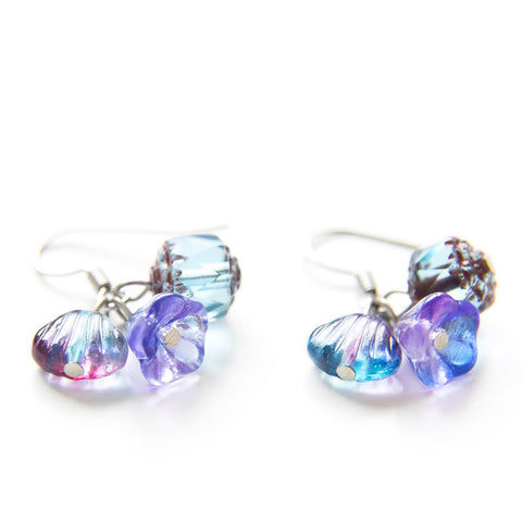 Candylicious Flower Silver Earring Blue Purple