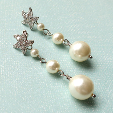 Sabia Silver Pearls Earrings