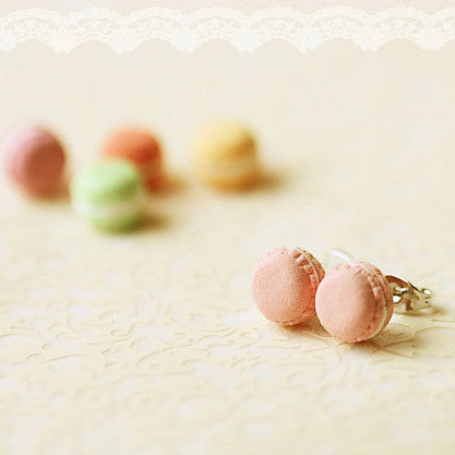 French Macaron Earrings - Pink