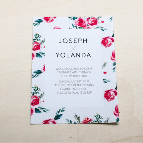 Modern Wedding Card with Flowers #006