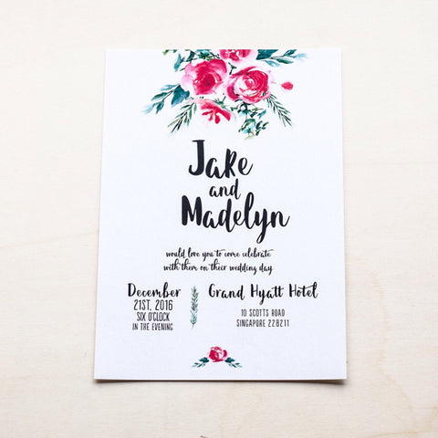 Modern Calligraphy Wedding Card with Flowers #002