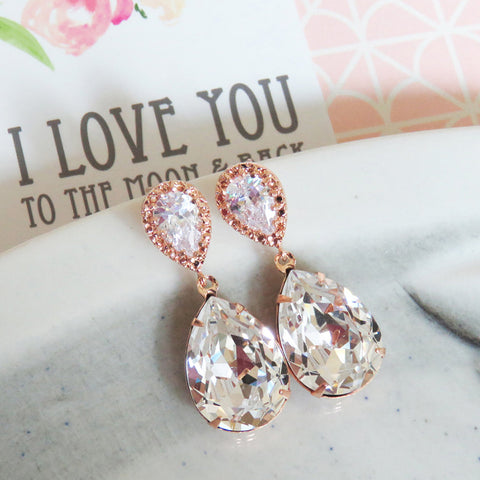 Sandra Crystal Rose Gold Earrings