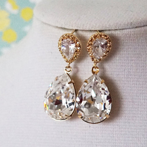 Sandra Crystal Gold Earrings
