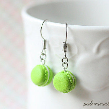 Lime Green Dangle Macaron Earrings