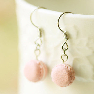 Pink French Macaron Earrings
