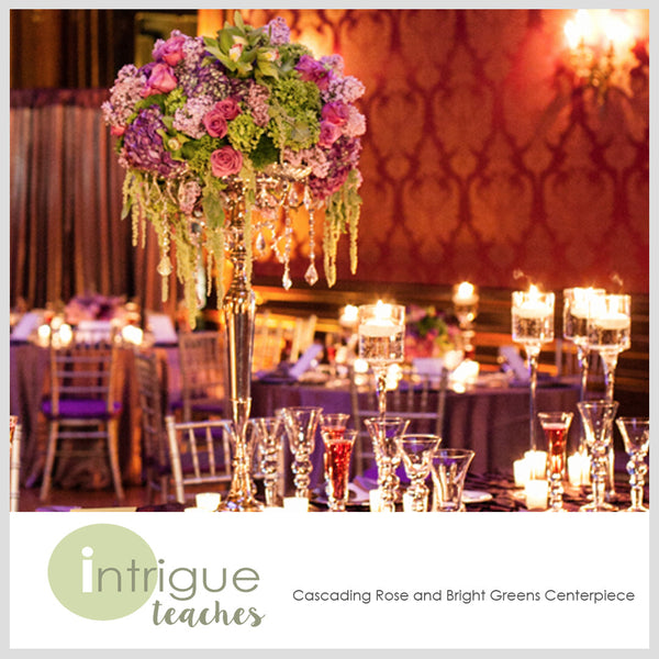 Cascading Rose & Bright Greens Centerpiece