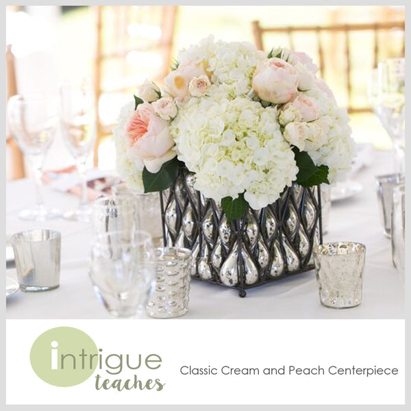 Classic Cream & Peach Centerpiece