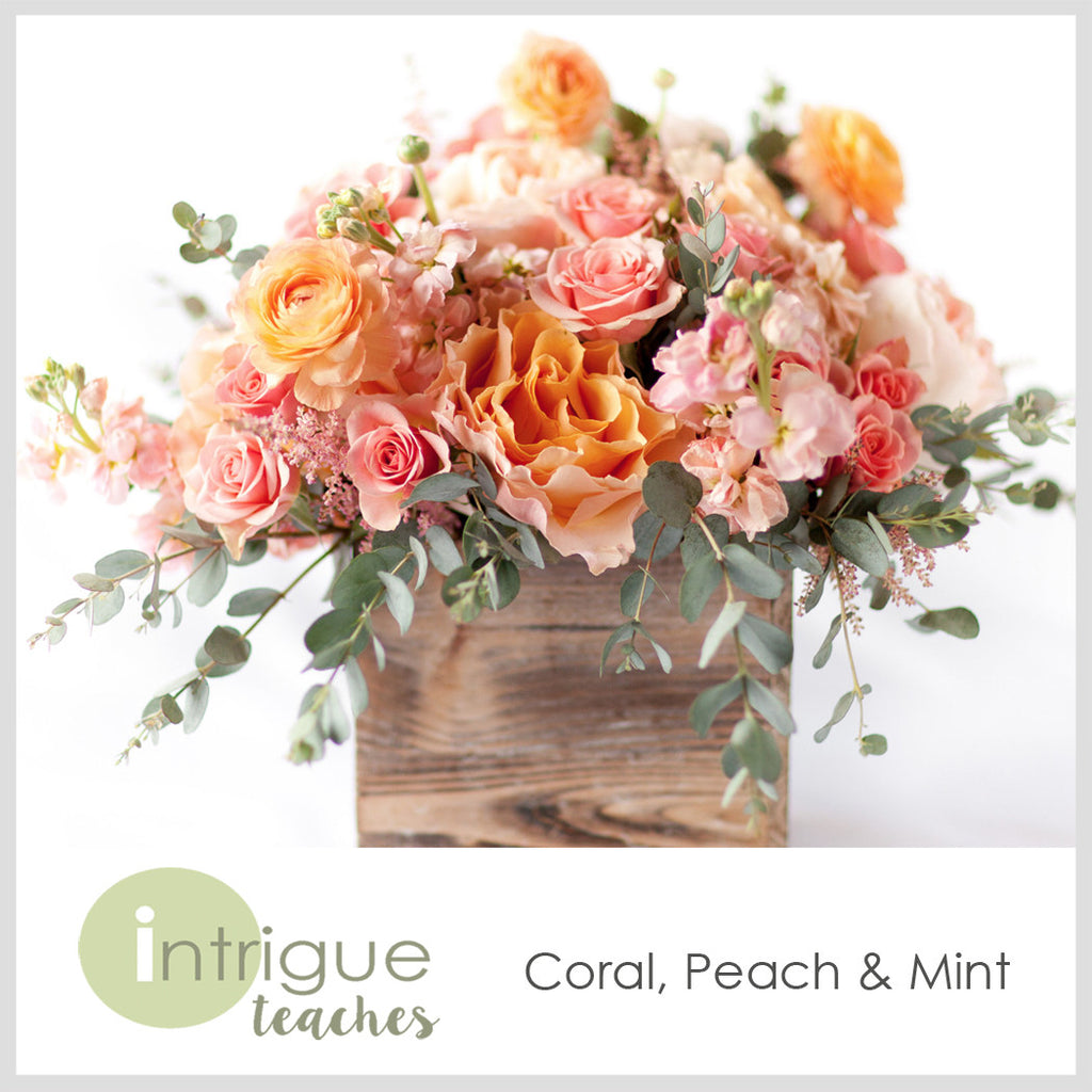Coral, Peach & Mint Centerpiece