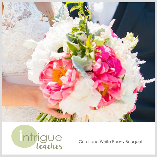 Coral & White Peony Bouquet