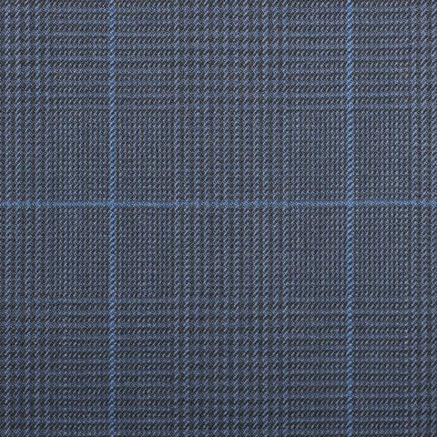 Navy Blue Plaid with Royal Blue Check Quartz Super 100's Suiting