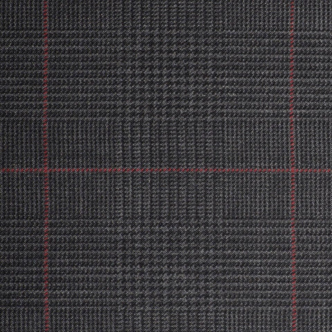 Dark Grey Plaid with Red Check Quartz Super 100's Suiting