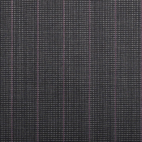 Grey Pindot With Lilac Stripe Quartz Super 100's Suiting