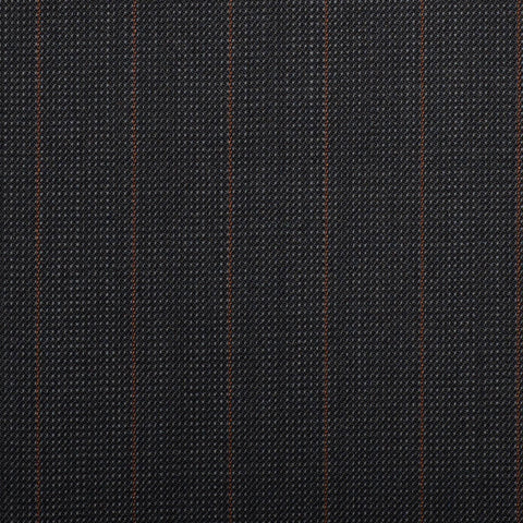 Dark Grey Pindot With Orange Stripe Quartz Super 100's Suiting
