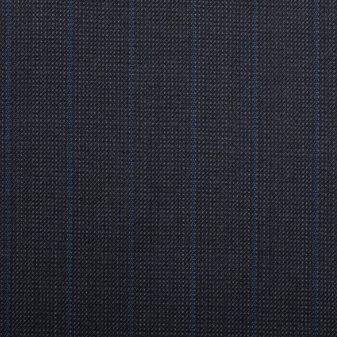Navy Pindot With Royal Blue Stripe Quartz Super 100's Suiting