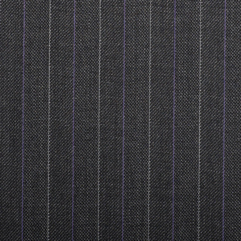 Dark Grey Herrinbone With Purple Stripe Quartz Super 100's Suiting