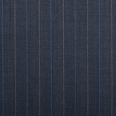 Navy Herrinbone With Blue Stripe Quartz Super 100's Suiting