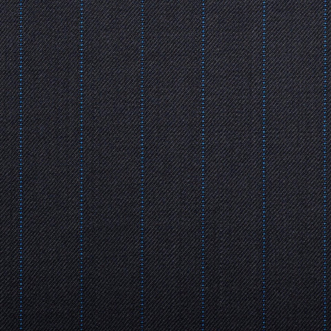 Navy With Royal Blue Pindot Stripe Quartz Super 100's Suiting