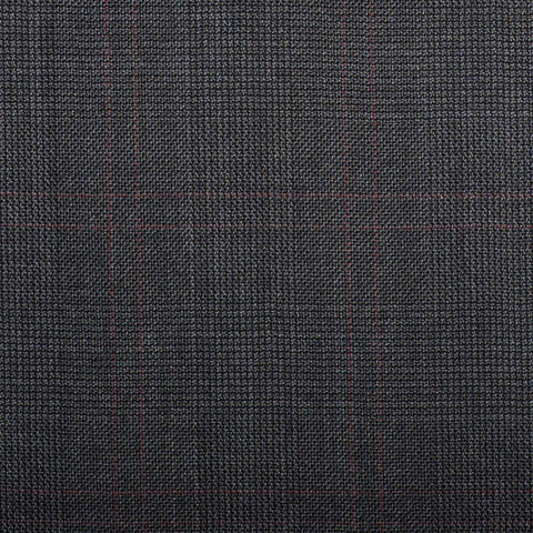 Dark Grey Prince Of Wales With Red Double Check Quartz Super 100's Suiting