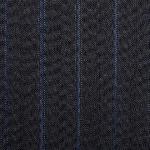 Navy With Blue Twin Stripe Quartz Super 100's Suiting