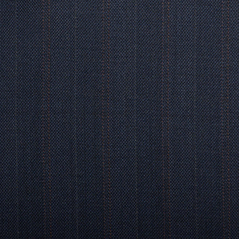 Navy Herringbone With Orange Double Stripe Quartz Super 100's Suiting