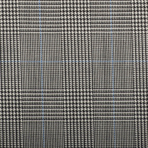 Black And White Prince Of Wales With Blue Overcheck Quartz Super 100's Suiting