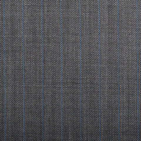 Medium Grey Herringbone With Blue Stripe Quartz Super 100's Suiting