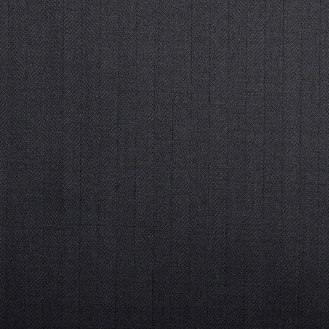 Midnight Navy Herringbone Crystal Super 130's Suiting