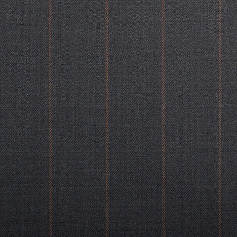 Medium Grey With Double Tangerine Pindot Stripe Crystal Super 130's Suiting