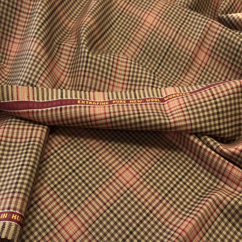 Brown/Light Brown With Red Check Onyx Super 100's Luxury Jacketing And Suiting's