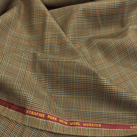Light Brown With Blue/Brown/Pink Check Onyx Super 100's Luxury Jacketing And Suiting's