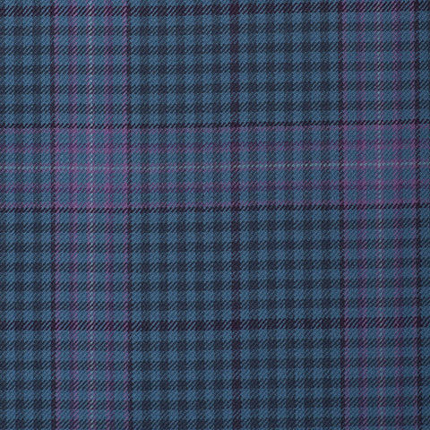 Light/Medium Blue With Lilac Check Onyx Super 100's Luxury Jacketing And Suiting's