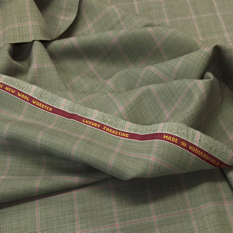 Olive Green With Pink Overcheck Onyx Super 100's Luxury Jacketing And Suiting's