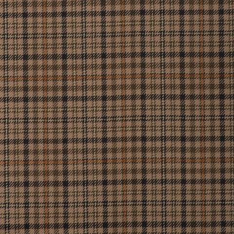Light/Medium Brown With Orange Check Onyx Super 100's Luxury Jacketing And Suiting's