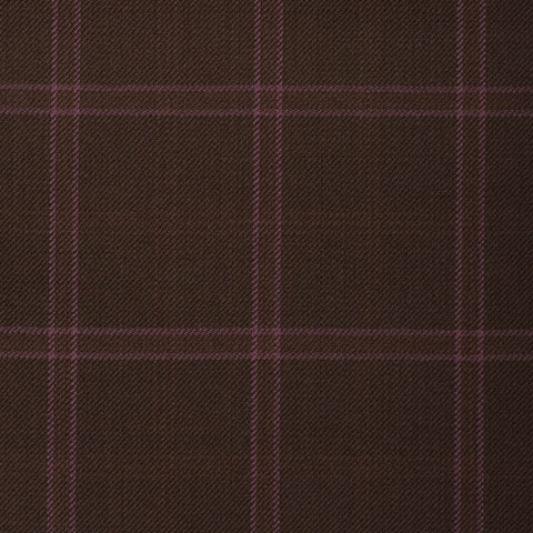 Dark Brown With Pink Check Onyx Super 100's Luxury Jacketing And Suiting's