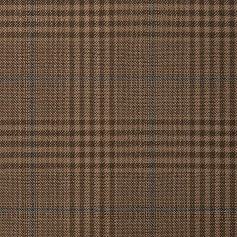 Light Brown With Blue Overcheck Onyx Super 100's Luxury Jacketing And Suiting's