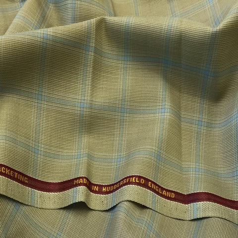 Light Sage Green With Blue Overcheck Onyx Super 100's Luxury Jacketing And Suiting's